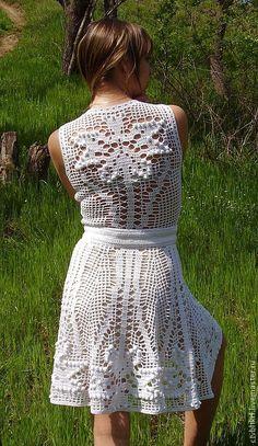 """Купить Вязаное платье """"Божественный Нарцисс"""" - белый, туника филе, цветы в кружеве, летняя одежда"""
