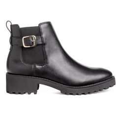 Chelsea-style Boots $49.99 ($50) ❤ liked on Polyvore featuring shoes, boots, ankle booties, chelsea boots, black chelsea ankle boots, beatle boots, buckle booties and chunky black boots