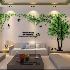 Large Size Couple Tree Mirror Wall Stickers TV Backdrop DIY Acrylic Autocollant Mural Home Decor Living Room Wall Decals Wall Stickers Tv, Wall Stickers Home Decor, Room Wall Decor, Wall Decals, Bedroom Wall, Living Room Sofa, Living Room Decor, Tree Wall Murals, 3d Wall