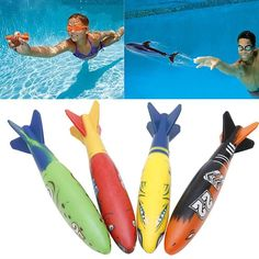 4 Pcs Rubber Swimming Pool Toys Diving Sport Outdoor Toypedo Bandits Play Water Fun Pool Fun Toys Games