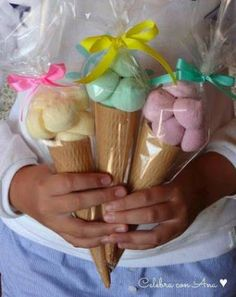 Ice cream cone party favors, fill with candy, marshmallows Candy Table, Candy Buffet, Candy Party, Party Favors, Party Sweets, Baby Shower, Ice Cream Party, Ice Cream Theme, Ideas Para Fiestas