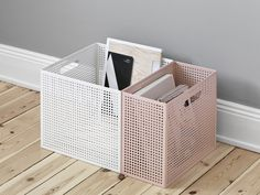 THE BOX is a perforated sheet metal box that allows people to define its usage. Its airy appearance brings consistency of organisation to the objects stored in its compartments. Handles on both sides give it the mobility to move around. Metal Furniture, Furniture Design, Scandi Living, Perforated Metal, Interior Decorating, Interior Design, Interior Colors, Decorating Ideas, Piece A Vivre
