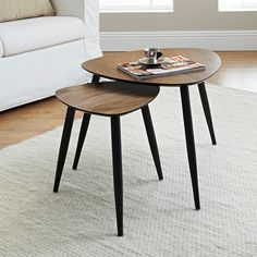 Calvin Nest of Tables. Real walnut veneer nest of 2 tables with black painted solid wood legs. Large table: W60 x D60 x H48cm. Small: W40 x D40 x H40cm