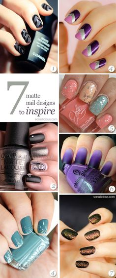 This is the year of matte nails. Over 40% of runways of 2013 nails are mattified. So get your matte top coat ready here's the best 7 matte nail art ideas