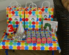 Hungry Caterpillar Party Favors ---  (lollipops, hungry caterpillar playdoh fun packs, goody bags for all the party crafts)