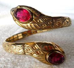 1930s Rolled Gold Bracelet 2 Ruby Red Crowned Snakes Serpents MOTHERS DAY GIFT! #AndreasDaub #Cuff1930sArtDecoRetroVictorianRevival