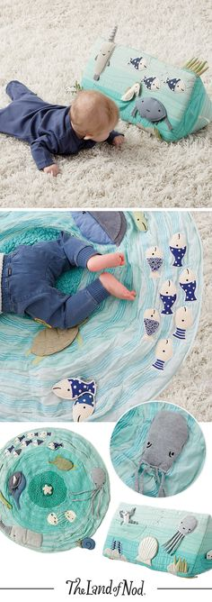 Give your nursery an oceanic touch with this sea life tummy time toy and baby play mat. Their unique designs are sure to make a splash with babies and grownups alike.