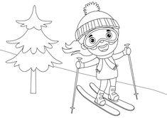 Dibujo para colorear de una niña haciendo sky en la nieve de la montaña