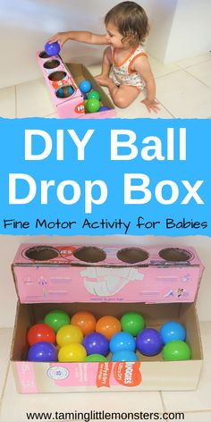 Learn how to turn an old diaper box into this easy DIY ball drop box. This is a great way to recycle an old box into a simple learning activity for babies and toddlers. They can practice fine motor skills, hand eye co-ordination and so much more. Baby Learning Activities, Activities For 1 Year Olds, Motor Skills Activities, Montessori Activities, Infant Activities, Young Toddler Activities, Baby Activites, Toddler Activity Board, Sensory Activities Toddlers