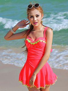 Lycra Spandex Cut Out Adjustable Swim Dress For Women - Milanoo.com