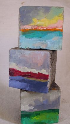 "Fine art - small painting - Collectible art - ""Three landscapes"" - Original oil landscapes de MariaMazaPaintings en Etsy"