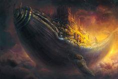 whale fish city flying in the sky art castle steampunk fantasy wallpaper background Fantasy Art Landscapes, Fantasy Landscape, Fantasy City, Fantasy World, Steampunk, Ciel Art, Whale Art, Castle In The Sky, Sky Art