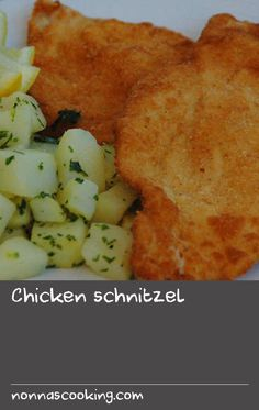 Chicken schnitzel | This recipe creates tender chicken with a lovely golden coating and it is delicious with mashed, boiled or fried potatoes. We make it at home at least every couple of weeks and love the simple recipe. Love this dish? You might also enjoy our veal schnitzel recipe, which is served with delicious minted peas and steamed baby potatoes. Cake Recipes At Home, Delicious Cake Recipes, Easy Cake Recipes, Simple Recipes, Yummy Food, Smashed Potatoes Recipe, Baby Potatoes, Fried Potatoes, Veal Schnitzel