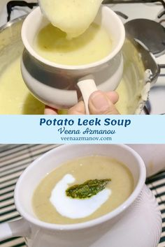 There is nothing more comforting than a bowl or warm healthy potato leek soup. This soup is simple easy and effortless so you can bring dinner on the table is less than 30 minutes. Serve this with crusty bread and a side salad you have a meal all ready. #Soup #Leek #Potato #healthy #winter #comfortfood #Soups #homemade #cooking #recipe via @Veenaazmanov #veenaazmanov veenaazmanov.com #healthysoups #healthy