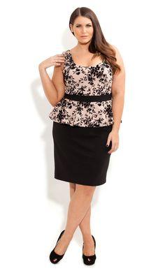 City Chic - FLOCKED FLOWER DRESS - Women's plus size fashion