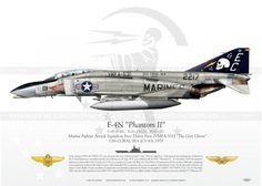 "USNC McDonnell Douglas F-4N ""Phantom II"" s/n: BuNo.152217, VMFA-531 ""The Grey Ghosts"", USS Coral Sea (CV-43), 1979. Military Jets, Military Weapons, Military Aircraft, Aviation Theme, Aviation Art, Air Fighter, Fighter Jets, Air Vietnam, Avion Jet"