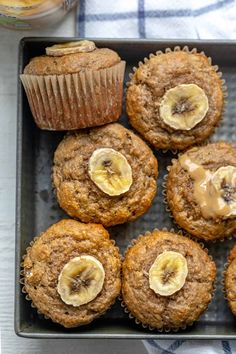 Easy and quick to make, these healthy peanut butter banana muffins are perfect for the whole family. Gluten-free and dairy-free with no artificial sugar. | Grain Free Recipes | Gluten Free Recipes | Peanut Butter Treats | Muffin Recipes Peanut Butter Muffins, Healthy Peanut Butter, Peanut Butter Banana, Gluten Free Muffins, Healthy Muffins, Vegan Muffins, Healthy Desserts, Healthy Foods, Healthy Recipes