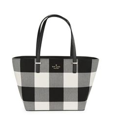 Kate Spade New York Harmony Plaid Tote ($228) ❤ liked on Polyvore featuring bags, handbags, tote bags, light shale multi, genuine leather tote, white leather purse, zip top tote, leather tote bags and leather handbags