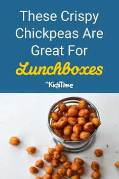 Looking for healthy snacks or lunchbox ideas for your child? These crispy chickpeas are a great alternative to nuts, and ideal for lunchboxes, if your child's school has a nut ban due to allergies. Crispy Chickpeas, Chickpea Recipes, Allergies, Kids Meals, Healthy Snacks, Lunch Box, Beans, Alternative, Vegetables