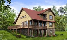 View side of Architectural Designs House Plan 68415VR. Porches and deck wrap around the front, right (shown) and partial back sides of the home. Over 1,800 square feet and 2 to 4 beds. Ready when you are. Where do YOU want to build?