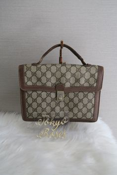 e7d3a32bb34b Vintage Gucci GG Monogram Canvas & Leather Business Bag Briefcase Handbag