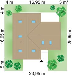 Plot × m domu Klimek 2 Bungalow House Plans, House Entrance, Bungalows, Ground Floor, House Design, Flooring, How To Plan, Interior Design, Projects