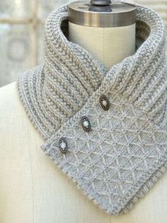Quilted Lattice Ascot Knitting Pattern and more neck wrap knitting patterns