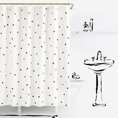 Product Image for kate spade new york Deco Dot Shower Curtains in White 1 out of 2