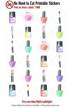 Watercolor Makeup No Cut Needed Printable Planner Stickers Nail Polish…