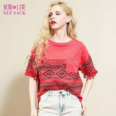 Elf SACK fashion print t-shirt female short-sleeve