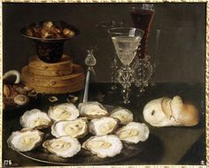 """saintguila:  Osias Beert,Still Life with Oysters,1620. Madrid.  Osias Beert (Antwerp, c. 1580 – 1624) is a Flemish Baroque painter who specialized in flower and """"breakfast""""-type still lifes. He joined the city's Guild of St. Luke in 1608, and trained Frans van der Borch, Frans IJkens, Paulus Pontius and Jan Willemssen. Beerts's floral paintings, often showing a vase of flowers in a shallow niche, are similar to the works of Ambrosius Bosschaert. His breakfast pieces..."""