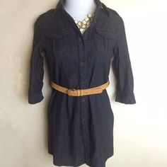✨New listing✨Dark denim shirtdress Dark denim button down shirtdress. Has sleeves that can be wore down or use the button tab to roll up. Belt loops on sides. Belt not included. Size is S. Necklace sold in a separate listing. Not interested in trades. Dresses