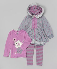 Another great find on #zulily! Gray Polka Dot Lace Zip-Up Hoodie Set - Infant by Nannette Girl #zulilyfinds