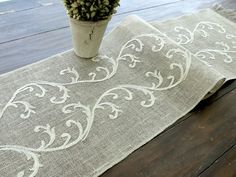 Items similar to Embroidered Table Runner - Wedding Table Linens- Romantic Vintage Gold Valentines Table Decor , handmade in the USA on Etsy Rustic Table Runners, Burlap Table Runners, Wedding Table Linens, Wedding Tables, Wedding Ceremony, Bordados E Cia, Linens And Lace, Decoration Table, Rustic Christmas
