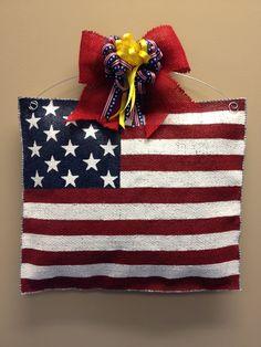 American Flag Burlap Door Hanger by ILoveItDesigns on Etsy, $30.00