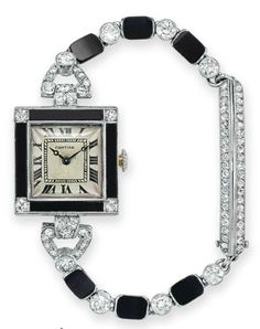 AN ART DECO DIAMOND AND ONYX WRISTWATCH, BY CARTIER. With mechanical movmement, the square cream dial with black Roman numerals, within a black onyx bezel set with four European-cut diamonds, to the old European and single-cut diamond and onyx bracelet with deployant rose-cut diamond clasp, mounted in platinum and 18k gold, 1922. #Cartier #ArtDeco #watch