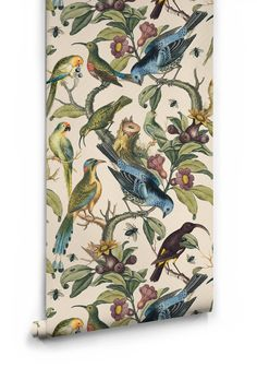 Sample Ornithology Wallpaper from the Erstwhile Collection by Milton & – BURKE DECOR Of Wallpaper, Designer Wallpaper, Pattern Wallpaper, Chinoiserie Wallpaper, Wallpaper Designs, Bird Wallpaper Bedroom, Eclectic Wallpaper, Leaves Wallpaper, Interior Wallpaper