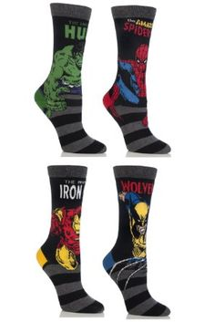 Amazon.com: SockShop Kid's 4 Pair Marvel Comics Mix Hulk, Spiderman, Ironman & Wolverine Socks: Clothing