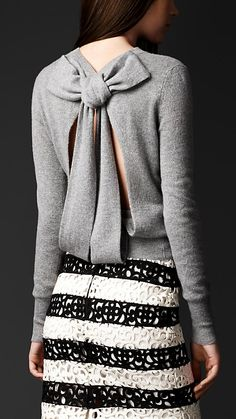 Open Back Bow Detail Sweater | Burberry - I need this in my life. Hopefully I can find a less expensive version LOL