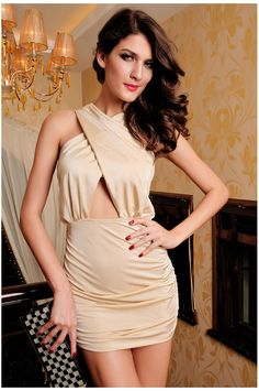 Dear-Lover Crossover Front Cut Out Waist Bodycon Dress Ivory Funky Dresses, Cheap Dresses, Sexy Dresses, Fashion Dresses, Ladies Dresses, Mini Dresses, Elegant Dresses, Party Dresses, Black Bodycon Dress