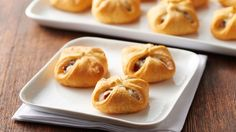 "Cranberry-Cream Cheese Crescent Bites - These one-bite cranberry and jalapeño-cream cheese crescent appetizers are easy to make and sure to be a ""wow"" with your guests. Thanksgiving Appetizers, Christmas Appetizers, Thanksgiving Recipes, Holiday Recipes, Christmas Snacks, Brie Bites, Brunch, Tapas, Cream Cheese Stuffed Jalapenos"