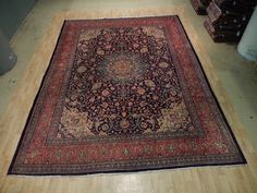 SEMI-ANTIQUE 10x14 Isfahan Rug Original Persian Najafabad Interior Decor Carpet