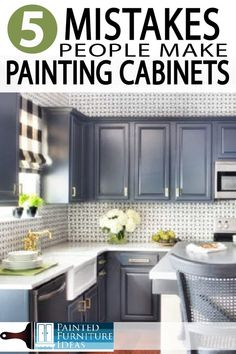 5 Mistakes People Make When Painting Kitchen Cabinets – Painted Furniture Ideas Learn how to paint your kitchen cabinets correctly. Avoid these major mistakes while remodeling your kitchen and bath! Diy Kitchen Cabinets, Kitchen Cabinet Colors, Painting Kitchen Cabinets, Kitchen Paint, Kitchen And Bath, Kitchen Furniture, New Kitchen, Furniture Ideas, Kitchen Ideas
