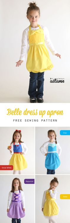 So adorable! Get the free PDF sewing pattern for this easy to make Belle (Beauty and the Beast) princess dress up apron in sizes 2-8 to fit any little girl! Easy DIY Snow White costume or dress up. Great handmade Christmas gift idea. More princess dress up apron patterns on this site too!
