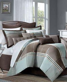 Norwalk 12 Piece Queen Jacquard Comforter Set - Bed in a Bag - Bed & Bath - Macy's