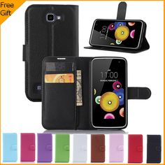 "For LG K4 Case Luxury PU Leather Case For LG K4 Lte K120e K130e 4.5"" K 4 Flip Protective Phone Shell Back Cover Skin With Slot"