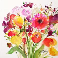 Flowers feed the soul! #suezipkinart #watercolour #arteveryday #watercolorflowers #floralpainting #studioart #homeinthestudio #springbouquet