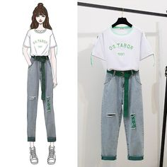 Latest Trends: Strapless O-neck Letter Print Short Sleeve Blouse + Tunic High Waist Wrap Skirt Two Piece Dress Set Girls Fashion Clothes, Kpop Fashion Outfits, Korean Outfits, Korean Girl Fashion, Cute Fashion, Look Fashion, Fashion Drawing Dresses, Fashion Illustration Dresses, Pretty Outfits