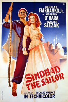 Sindbad the Sailor, 1949 - original vintage poster for the movie starring Douglas Fairbanks Jr, Maureen O'Hara and Walter Slezak listed on AntikBar.co.uk