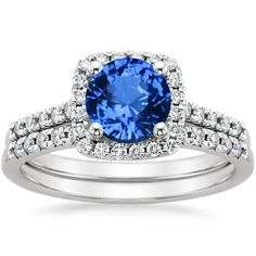 18K+White+Gold+Sapphire+Sonora+Halo+Diamond+Matched+Set+from+Brilliant+Earth